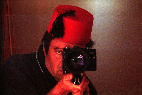 reflected self-portrait with Zenit FS-12 Fotosniper and Fez by pho-Tony