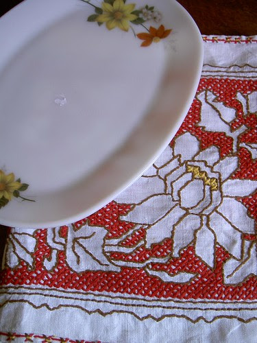 Pyrex and table runner