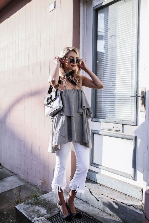 Le Fashion Blog Ruffled Blouse White Fringe Pants Sling Back Heels JW Anderson Bag Via Ohh Couture