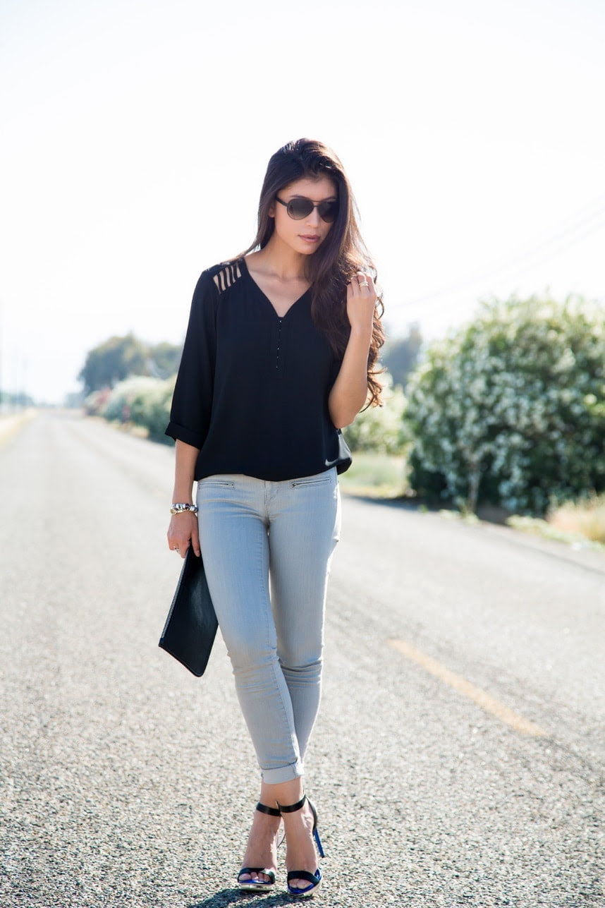 wearing gray jeans for the first time