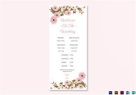 Floral Wedding Program Card Design Template in Illustrator