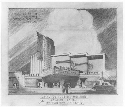 Hopkins Theatre, Oakland design drawing