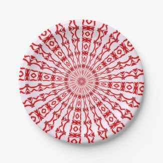 Paper Plates with Red Kaleidoscope Image 7 Inch Paper Plate