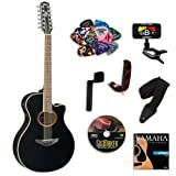 Yamaha APX700II Black 12-String Acoustic Electric Guitar BUNDLE w/ Legacy Kit (Tuner, DVD and More)
