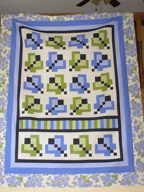 Green fairy butterfly quilt in periwinkle and green