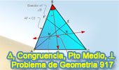 Problema de Geometría 917 (English ESL): Triangulo, Bisectriz Interior, Punto Medio, Congruencia, Perpendicular