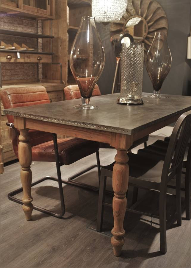 zinc topped aged pine dining table by cambrewood ...