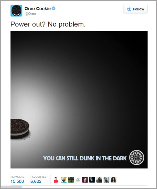 Oreo Super Bowl Tweet example of contagious social media marketing