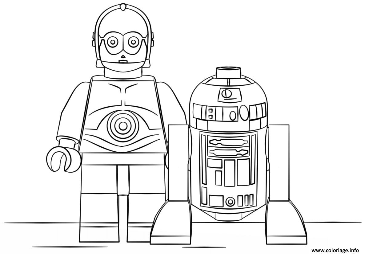 Coloriage Lego Star Wars R2d2 And C3po Jecoloriecom