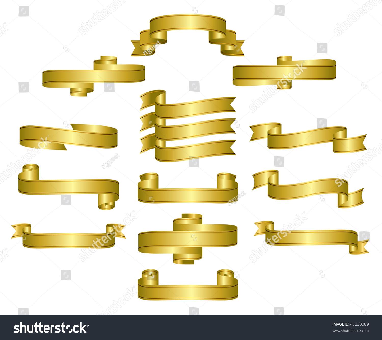 Gold Ribbon Scrolls Banners Editable Vector Stock Vector 48230089 ...