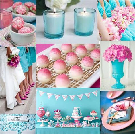 Colors: turquoise & pink and thinking of a flowers and