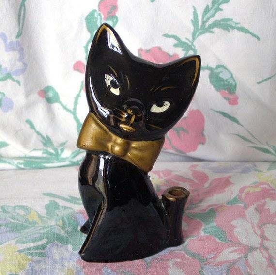 Retro Black Cat Ceramic Pen Holder Desk Accessory