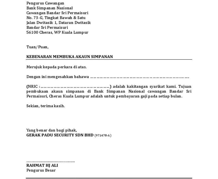 Surat Rasmi Untuk Buka Akaun Bank - Surasmi K
