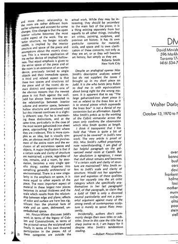 Artforum,letters page, Oct/1970