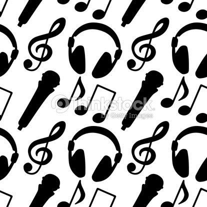 Patrón Sin Costuras Con Música Notas Clave De Sol Micrófono De