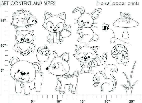 Woodland Animal Coloring Pages For Kids. Hand Drawn Vector On ... | 413x570