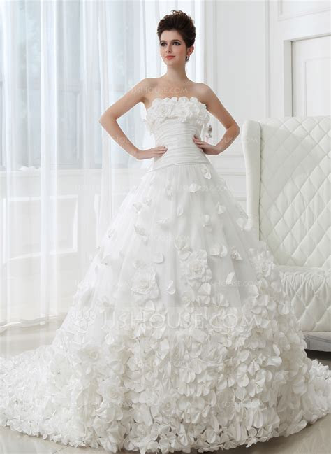 Ball Gown Strapless Cathedral Train Taffeta Tulle Wedding