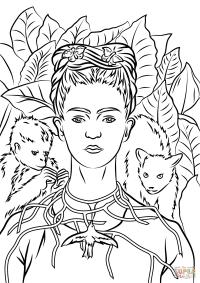 Frida Kahlo Para Colorear Lnea De Dibujo En El Arte Libro Para