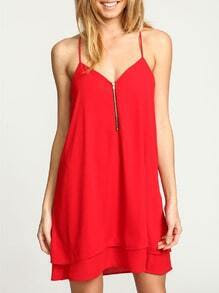 Red Spaghetti Strap Zipper Dress