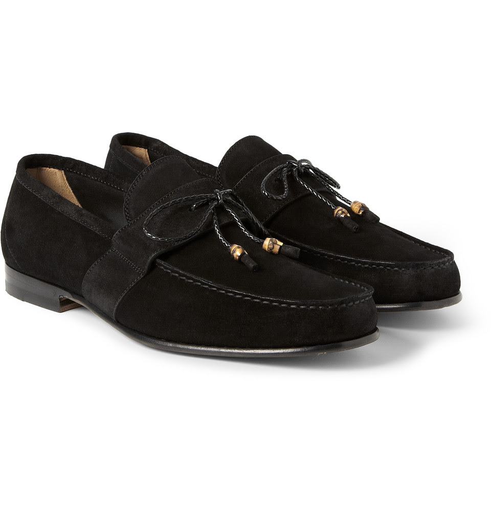 Gucci Suede Penny Loafers in Black for Men | Lyst