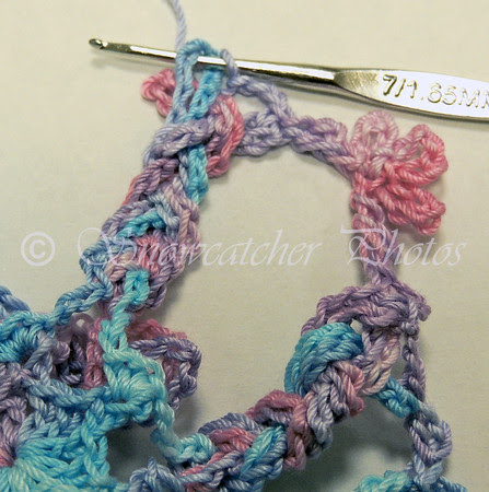 1 single crochet in each braid loop