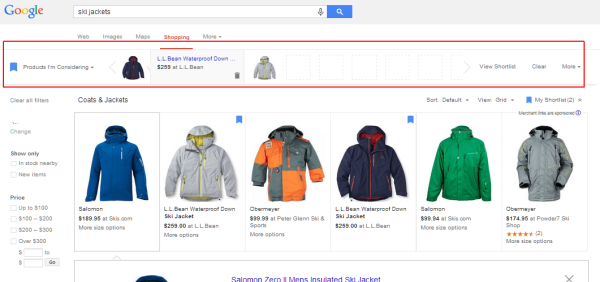google shopping shortlist
