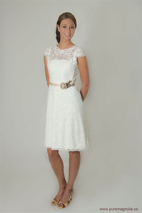 Lace Short Wedding Dress with Sleeves, Low Back Wedding