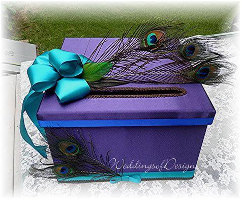 Wedding CARD BOX Money Card Box PEACOCK Feathers Customize