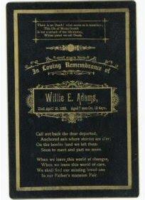 Willie Adams Death Card