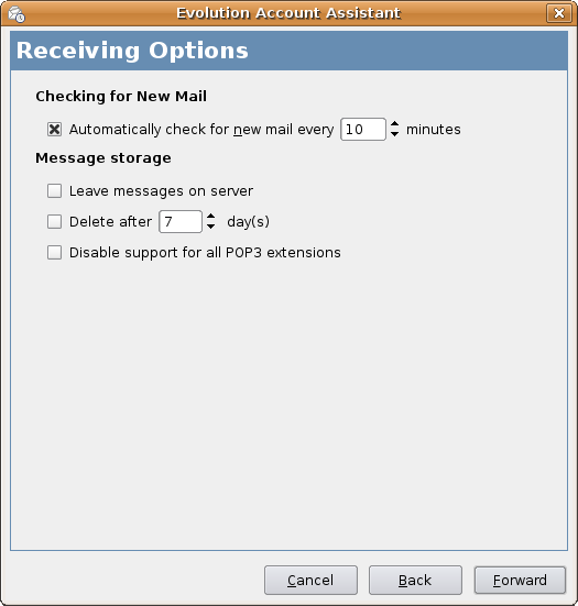 Evolution Account Assistant Receiving Options