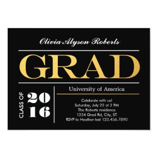 Elegant Big Golden Letters Graduation Invitation