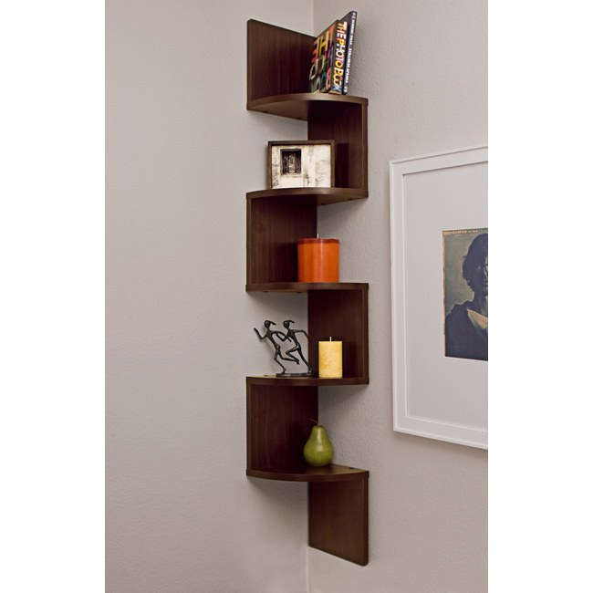 Laminated Walnut Veneer Corner Zig Zag Wall Mount Shelf Wall Decor ...