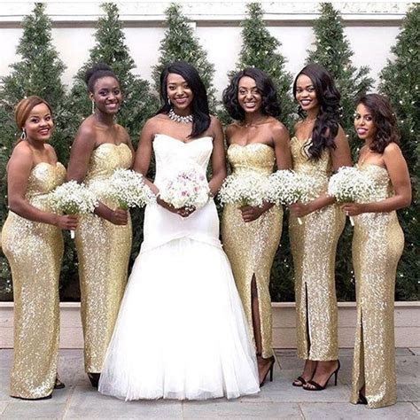 Sparkly Long Gold Bridesmaid Dresses Women Strapless