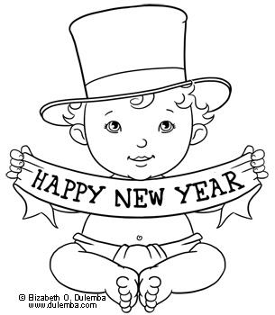 baby new year coloring pages free | dulemba: Coloring Page Tuesday - Happy New Year!