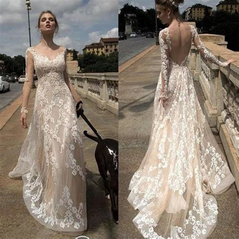 2016 Full Lace Sexy Backless Illusion Wedding Dresses A