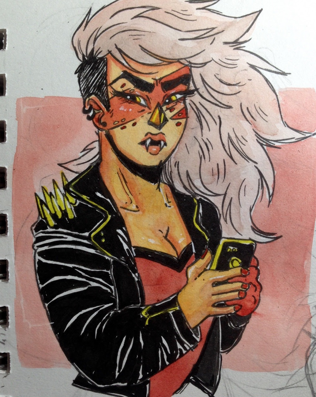 sorry i have so many requests in my ask box and havent been drawing them but heres a punk jasper