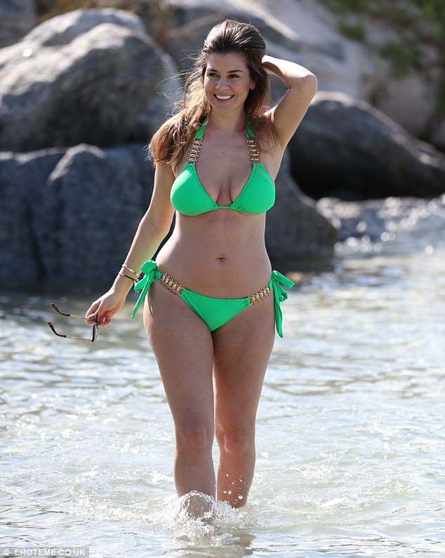 The grass is greener! Imogen Thomas, 34, flaunted her ample assets and all-around trim physique in a skimpy luminous bikini from her own swimwear range as she continued her Miami getaway