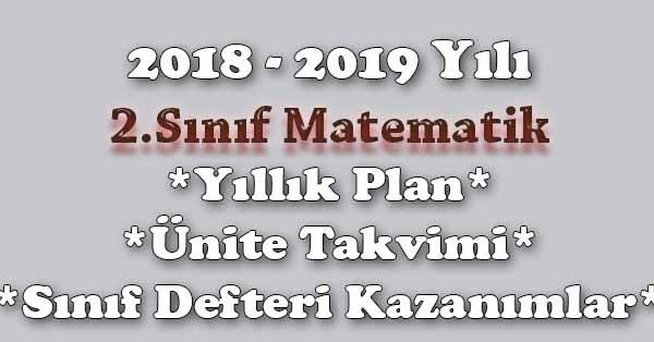 2018 2019 Yılı 2sınıf Matematik Yıllık Plan ünite Süreleri