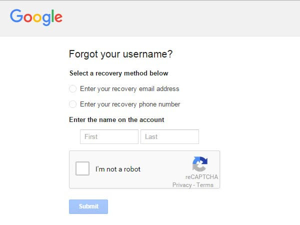 Select A Recovery Method