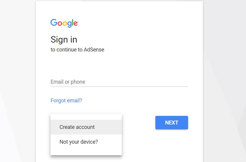 The Google AdSense sign in page