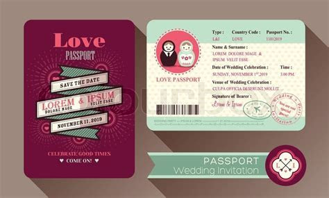 Retro Visa Passport Wedding Invitation     Stock Vector
