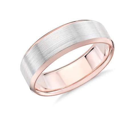 Brushed Beveled Edge Wedding Ring in 14k White and Rose
