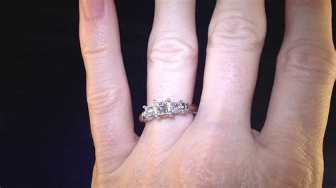 Certified Zales Princess Cut 3 Stone Platinum Diamond