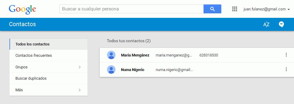 Gmail. Nueva interfaz de contactos