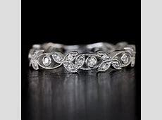 Diamond Art Deco Bezel Wedding Band Floral 1920's Round Engraved Filigree Milgrain Vintage