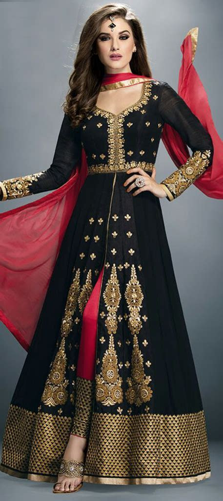 450716: Black and Grey color family stitched Anarkali Suits