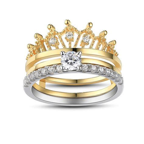 Crown Round Cut White Sapphire Sterling Silver Women's