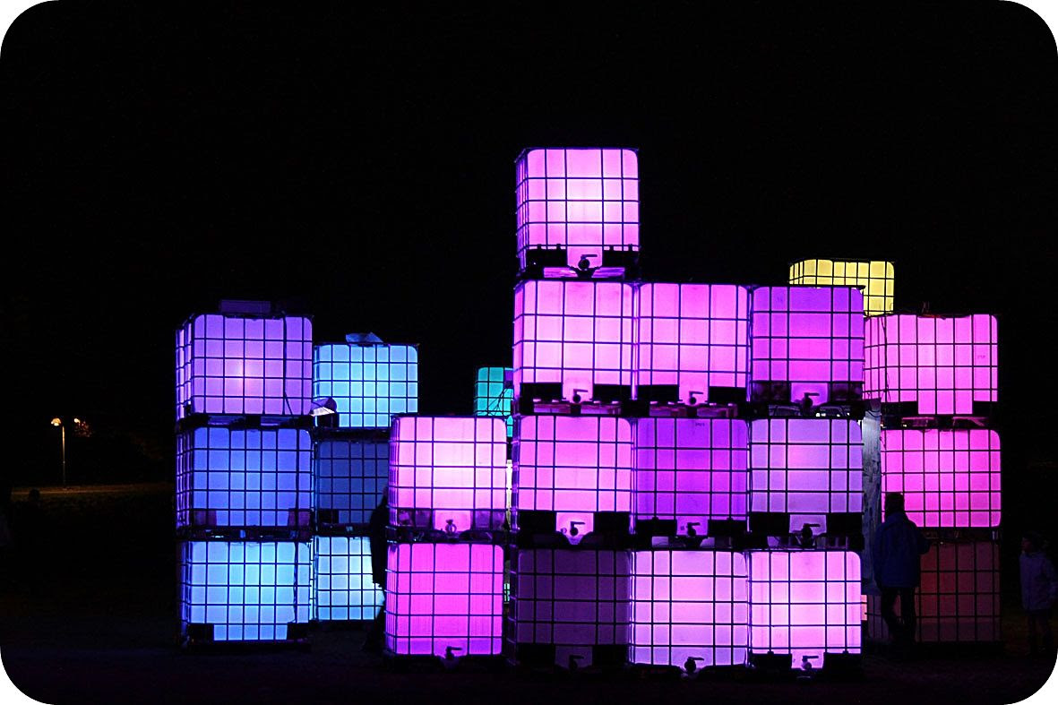 "12.1, Part of the light display ""Winter light"" that goes on in my city - these are huge, recycled plastic containers. Looks great in the darkness!"