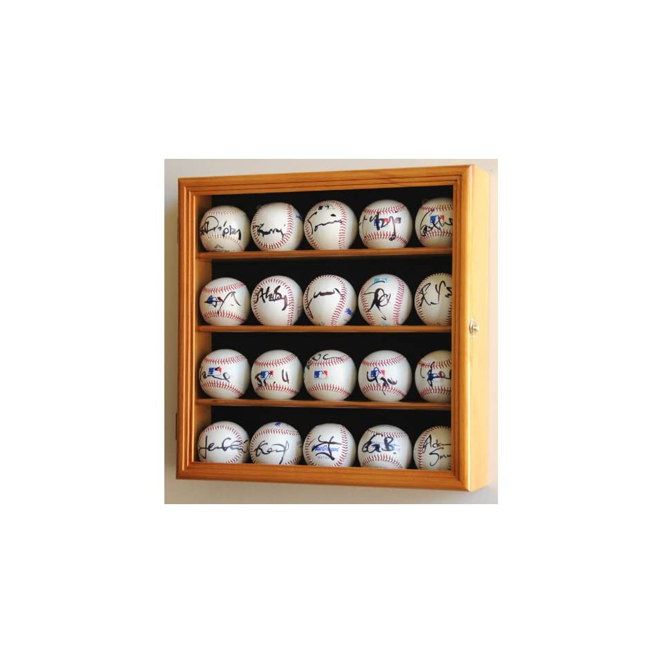 14 Baseball Display Case Cabinet Holder Wall Rack Home Plate Shaped