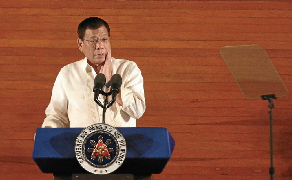 President Rodrigo Duterte delivers his first State of the Nation Address. INQUIRER PHOTO/JOAN BONDOC